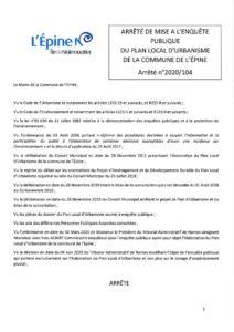 thumbnail of Arrêté Enquête Publique 2020 20 07 au 21 08
