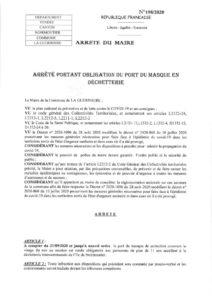 thumbnail of Arrêté municipal port du masque déchetterie